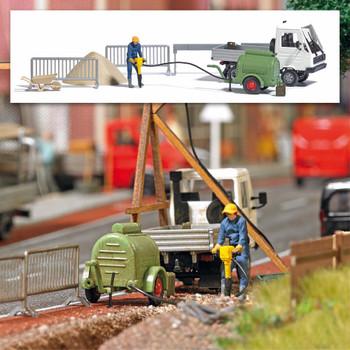 HO 1:87 Busch # 7904 - Construction Site Compressor, Figure, Jackhammer and Multicar - Action Set