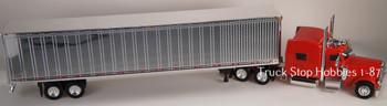 HO 1:87 TSH # 501190 Peterbilt 389 Tractor w/53' Dry Van Chrome Trailer -Red