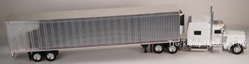 HO 1:87 TSH # 503190 Peterbilt 389 Tractor w/53' Dry Van Chrome Trailer - White