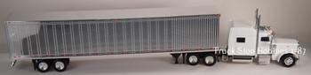 HO 1:87 TSH # 503191 Peterbilt 389 Tractor w/53' Reefer Van Chrome Trailer - White
