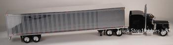 HO 1:87 TSH # 504190 Peterbilt 389 Tractor w/53' Dry Van Chrome Trailer - Black