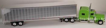HO 1:87 TSH # 506190 Peterbilt 389 Tractor w/53' Dry Van Chrome Trailer Lime Green