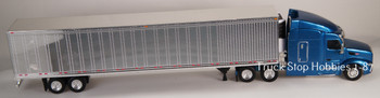 HO 1:87 TSH # 542191 Peterbilt 579 Tractor w/53' Reefer Van Chrome Trailer - Blue