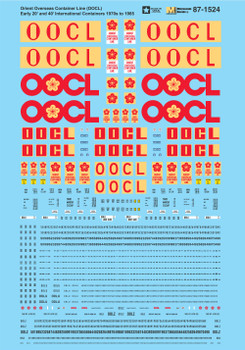 HO 1:87 Microscale 87-1524 Orient Overseas Container Line (OOCL) Early 20' 40' International Container Decals