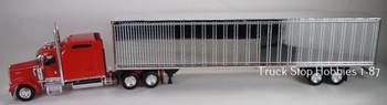 HO 1:87 TSH # 651190 Kenworth W900L Tractor w/53' Dry Van Chrome Trailer - Red