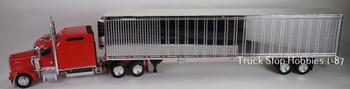 HO 1:87 TSH # 651191 Kenworth W900L Tractor w/53' Reefer Van Chrome Trailer - Red
