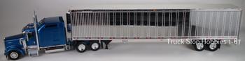 HO 1:87 TSH # 652191 Kenworth W900L Tractor w/53' Reefer Van Chrome Trailer - Blue