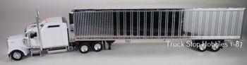 HO 1:87 TSH # 653191 Kenworth W900L Tractor w/53' Reefer Van Chrome Trailer - White