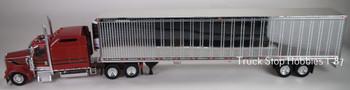 HO 1:87 TSH # 657191 Kenworth W900L Tractor w/53' Reefer Van Chrome Trailer - Red/Black/Gold