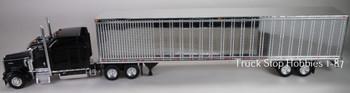 HO 1:87 TSH # 654190 Kenworth W900L Tractor w/53' Dry Van Chrome Trailer - Black
