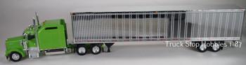 HO 1:87 TSH # 656190 Kenworth W900L Tractor w/53' Dry Van Chrome Trailer - Lime Green