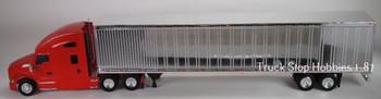 HO 1:87 TSH # 691190 Kenworth T-680 Tractor w/53' Dry Van Chrome Trailer - Red