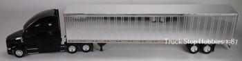 HO 1:87 TSH # 694190 Kenworth T-680 Tractor w/53' Dry Van Chrome Trailer - Black