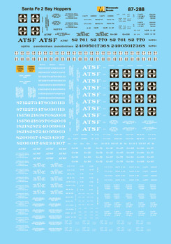 HO 1:87 Microscale 87-288  ATSF Freight - Hopper - Covered 2-Bay Decals