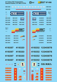 HO 1:87 Microscale 87-508  Asst. Trailer Decals  US Mail, CSX, XTRA, Seaboard