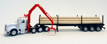 HO 1:87 Promotex # 6604 Peterbilt 367 Tri-Axle w/Log Trailer, Crane, Logs