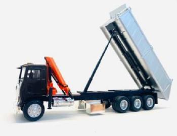HO 1:87 Promotex # 6604 White RCComm COE Tri-Axle dump truck w/crane - Brown