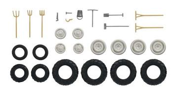 HO 1:87 Busch # 49953 Tractor Tires w/wheel hubs (8 asst. sizes) & Hand Tools