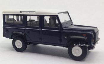 HO 1:87 Busch # 50302 - 1983 Land Rover Defender SUV Blue/White
