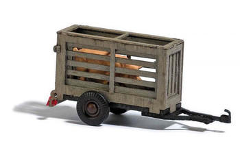 HO 1:87 Busch # 59938 - Hog Transport Cage Farm Trailer - Brown w/Pig