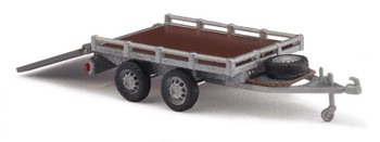 HO 1:87 Busch # 59954 - Small Flatbed Trailer 2-axle w/Ramp - Silver