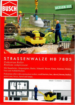 HO 1/87 Busch # 7805 Roller Compactor with Figure and Accessories