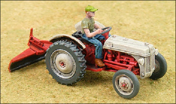 HO 1:87 GHQ # 60009 - Ford 8n Tractor w/2-bottom plow, scraper  KIT