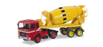 HO 1/87 Herpa # 305020  Roman Diesel Cement Mixer Semi Truck - Red/Yellow