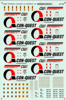 HO 1:87 Microscale #MS-704 Con-Quest 48' Container Decals - A-Line # 25817