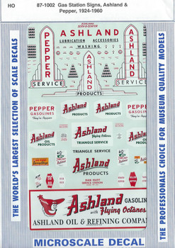 HO 1:87 Microscale 87-1002 Ashland & Pepper Gas Station Signs Decals 1924-60