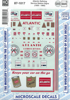 HO 1:87 Microscale 87-1017 Atlantic Refining Gas Station Signs Decals 1935-60