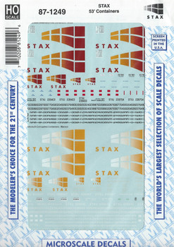 HO 1:87 Microscale 87-1249 STAX 53' Container Decals
