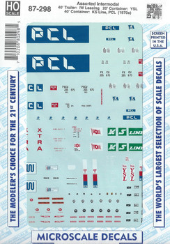 HO 1:87 Microscale 87-298 Decals 40' Trailer IW Lease, KS Line, PCL, YSL