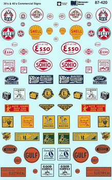 HO 1/87 Microscale 87-420 Structure Signs Commercial Decals 30's-40's