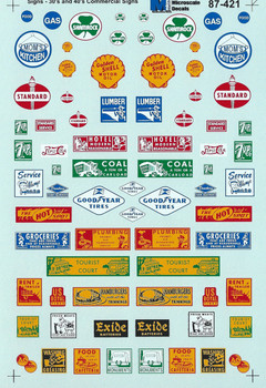 HO 1/87 Microscale 87-421 Structure Signs Commercial Decals 30's-40's