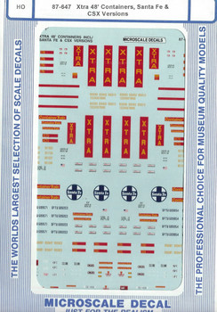 HO 1:87 Microscale 87-647 Decals XTRA 48' Containers - Sante Fe, CSX,