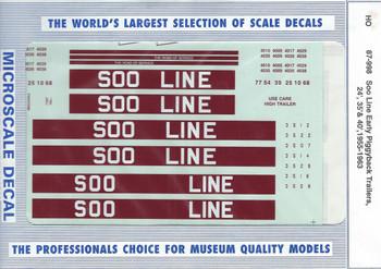 HO 1:87 Microscale 87-998 Soo Line Early Piggyback Trls. 24'35'40' Decals 55-63
