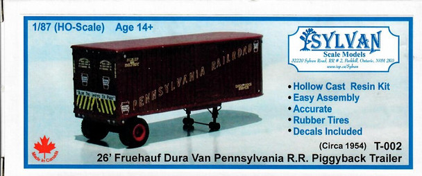 HO 1:87 Sylvan # T-002 - 1954 - 26' Fruehauf Dura Van Trailer KIT - Penn R.R.
