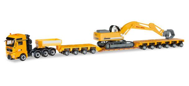 HO 1:87 Herpa #307277 - MAN TGX Xxl, Lowboy w/Wrecking Crane Max Bogl