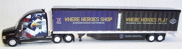 HO 1:87 TNS-93217  AAFES Freightliner Cascadia sleeper (where Heros shop) w/ 53' dry van - 382