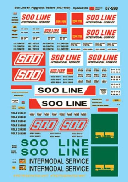 HO 1:87 Microscale 87-999  Soo Line Trailer Decals  1963-80, Late Scheme