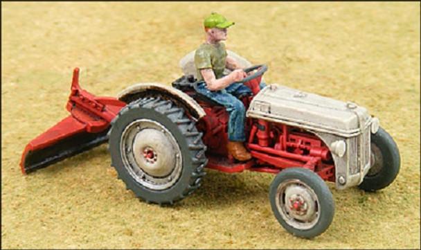 HO 1/87 GHQ # 60009 - Ford 8n Tractor w/2-bottom plow, scraper KIT