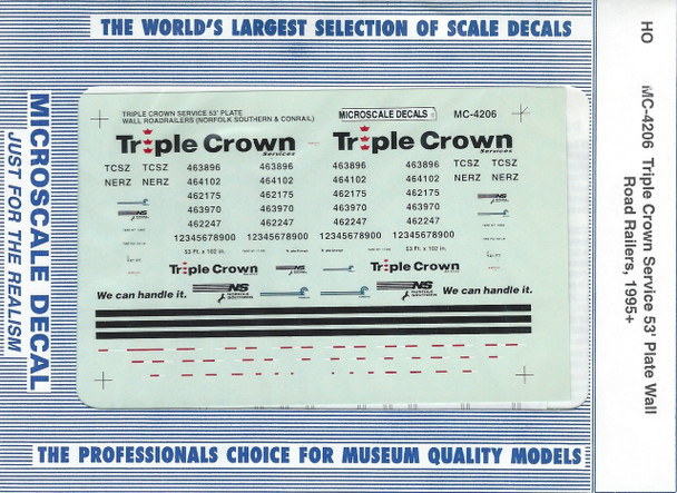 HO 1:87 Microscale MC-4206 Triple Crown Service 53' Plate Wall Road Rail  Decals