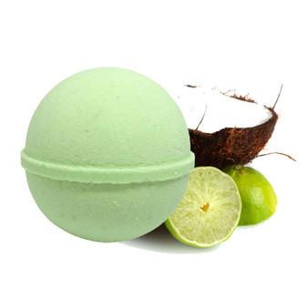 Hemp Infused Bath Bomb by küribl.  Coconut Lime scent.
