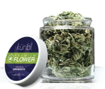 Smokable hemp flower inside a small glass jar with a white screw on cap.