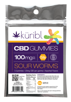 Sour Gummy Worms with 20mg of Full Spectrum CBD per gummy.