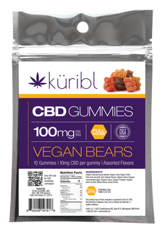 Vegan gummy bears with 10mg CBD each.  10 per package, 100mg CBD in the whole package.