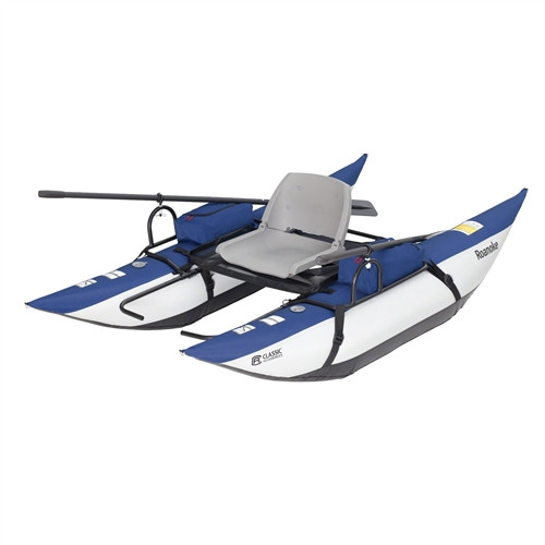 Roanoke Inflatable Fly Fishing Float 8' Pontoon Portable Boat w/ Fold Down Seat