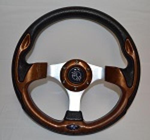 "12.5"" Rally Style Woodgrain Steering Wheel Golf Cart Yamaha EZGZO Club Car"