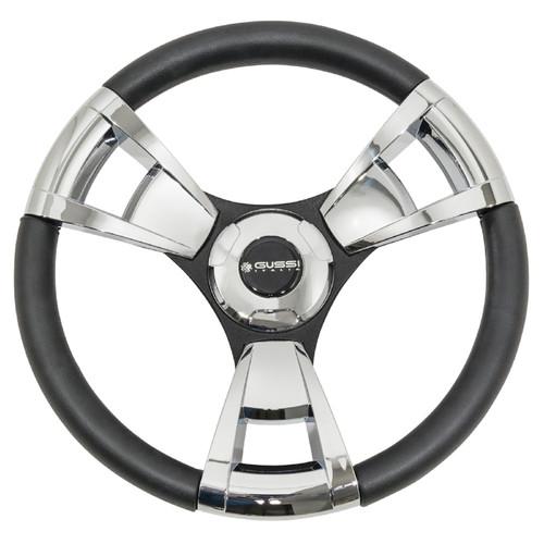 "Gussi Italia Model 13 Black/Chrome 14"" Steering Wheel   Yamaha Golf Cart"